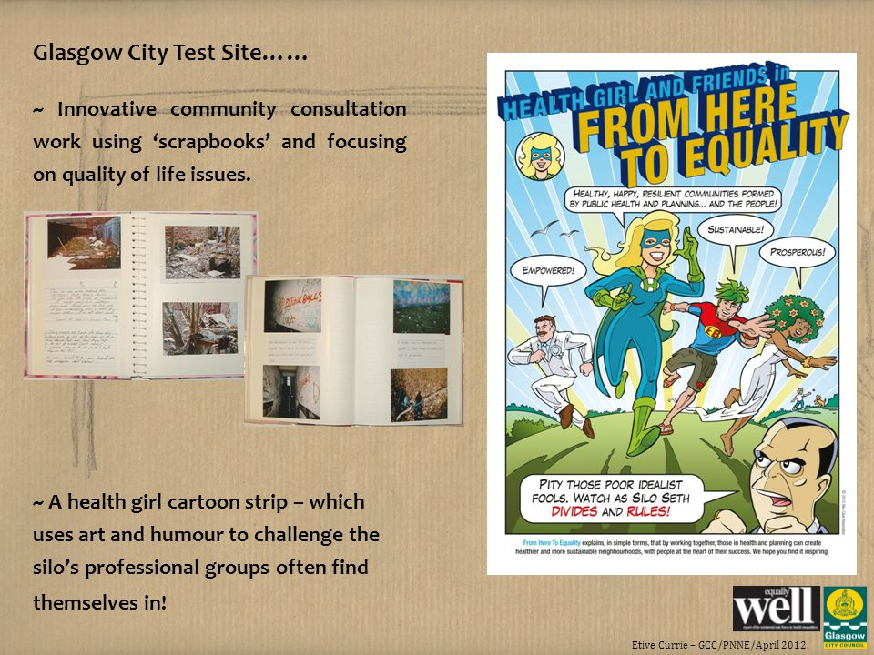 Etive Currie – GCC/PNNE/April 2012. Glasgow City Test Site…… ~ Innovative community consultation work using scrapbooks and focusing on quality of life