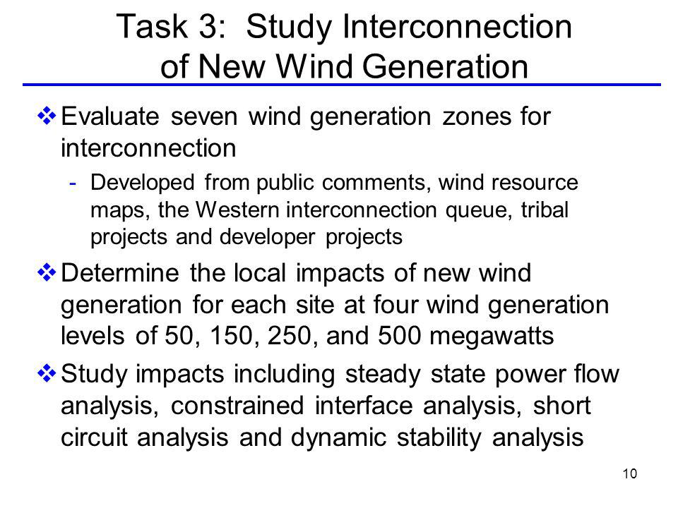 10 Task 3: Study Interconnection of New Wind Generation Evaluate seven wind generation zones for interconnection - Developed from public comments, wind resource maps, the Western interconnection queue, tribal projects and developer projects Determine the local impacts of new wind generation for each site at four wind generation levels of 50, 150, 250, and 500 megawatts Study impacts including steady state power flow analysis, constrained interface analysis, short circuit analysis and dynamic stability analysis