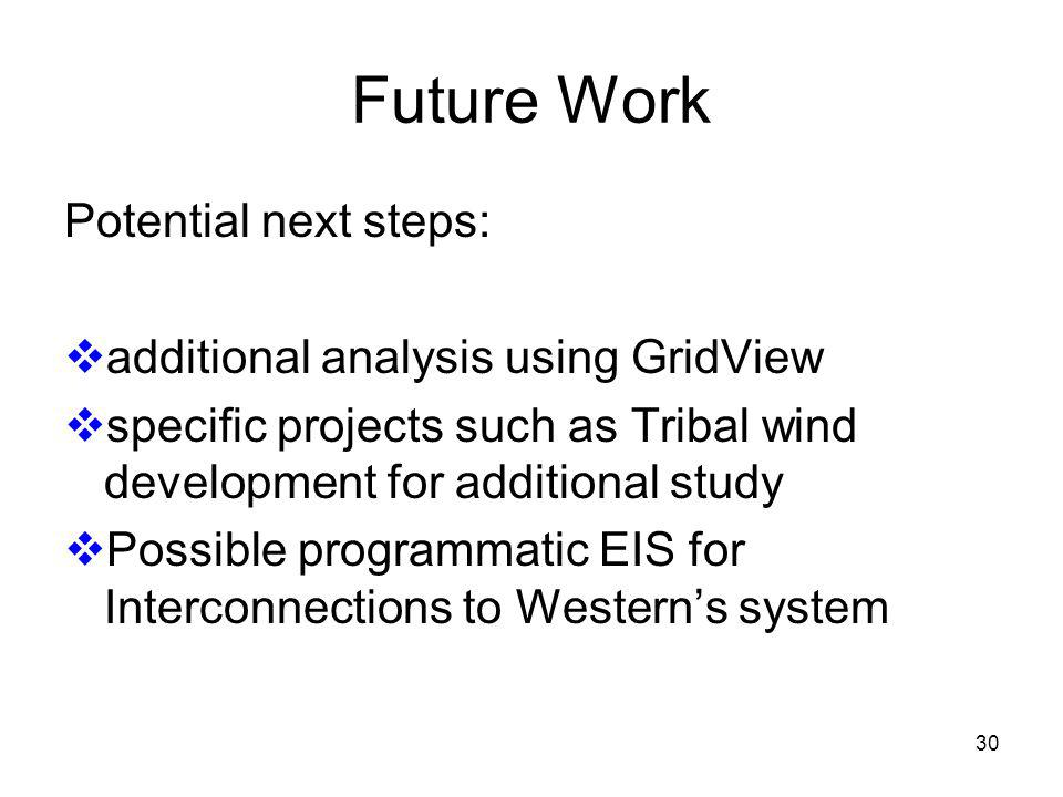 30 Future Work Potential next steps: additional analysis using GridView specific projects such as Tribal wind development for additional study Possible programmatic EIS for Interconnections to Westerns system