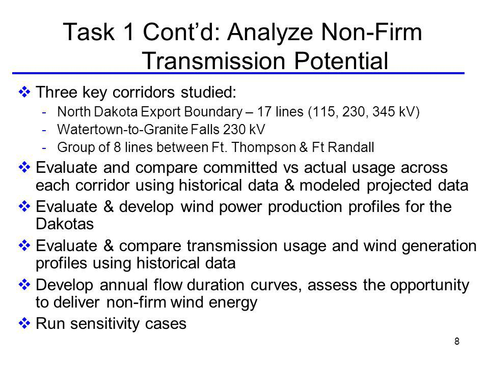 8 Task 1 Contd: Analyze Non-Firm Transmission Potential Three key corridors studied: - North Dakota Export Boundary – 17 lines (115, 230, 345 kV) - Watertown-to-Granite Falls 230 kV - Group of 8 lines between Ft.