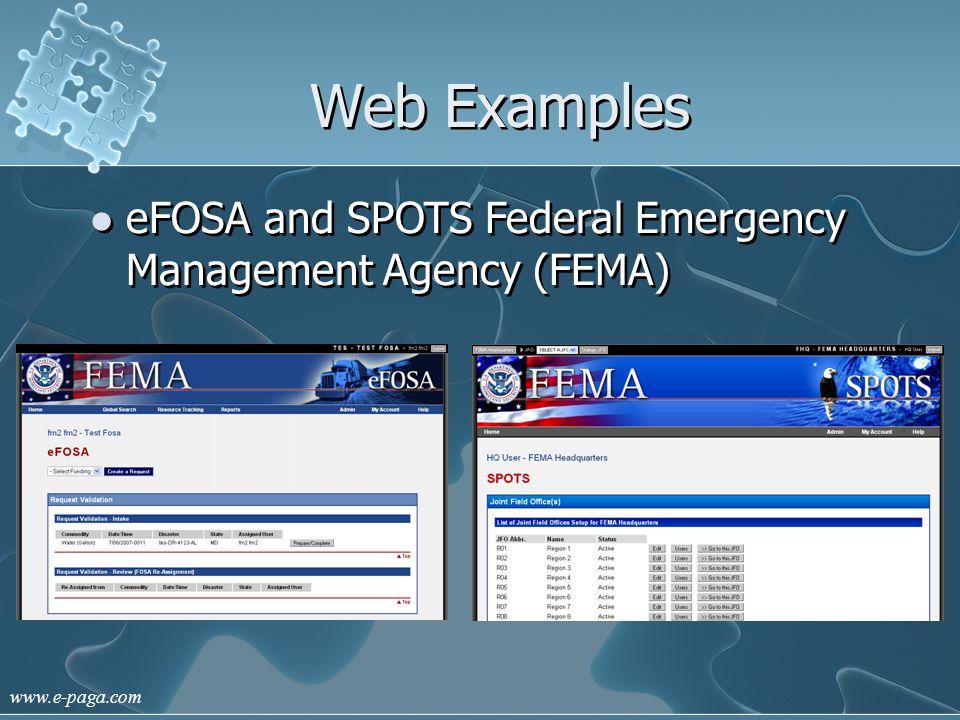 www.e-paga.com Web Examples eFOSA and SPOTS Federal Emergency Management Agency (FEMA)