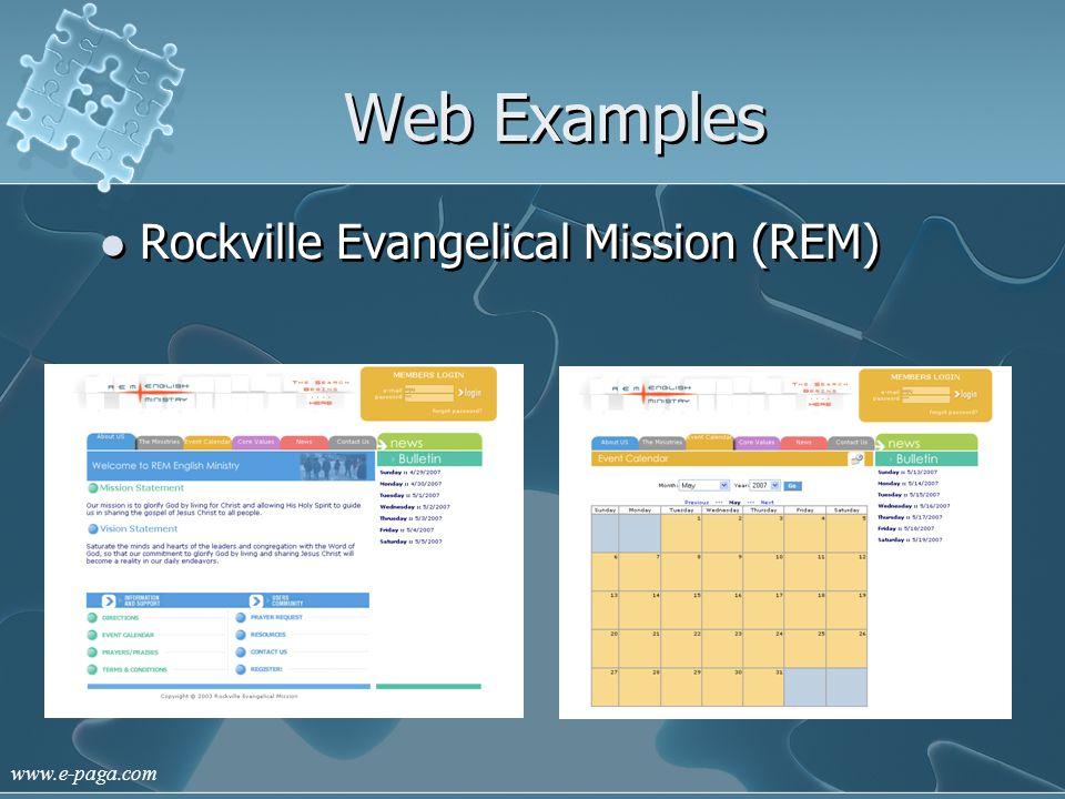 www.e-paga.com Web Examples Rockville Evangelical Mission (REM)