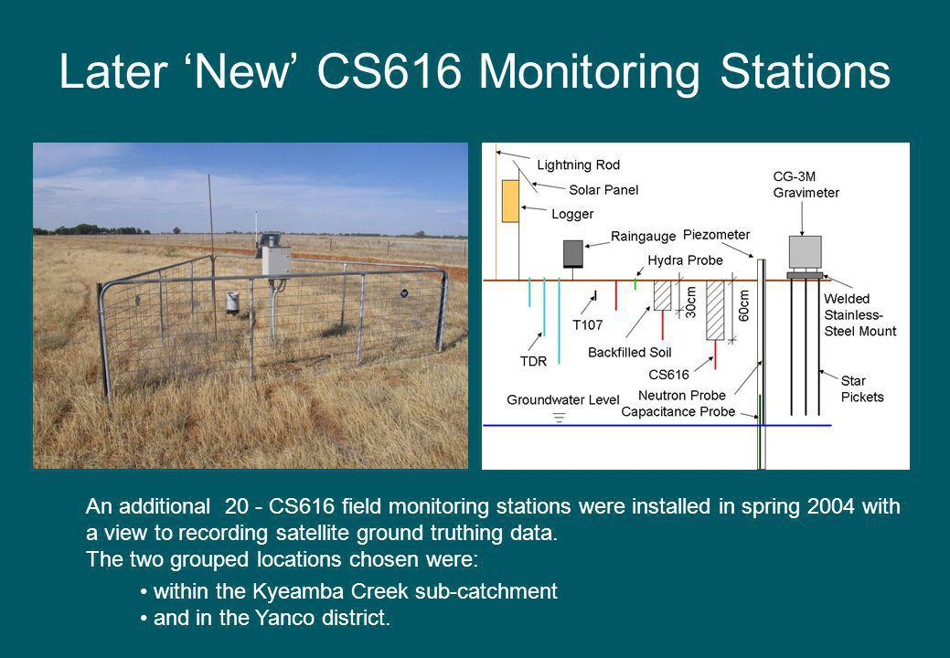 Later New CS616 Monitoring Stations An additional 20 - CS616 field monitoring stations were installed in spring 2004 with a view to recording satellite ground truthing data.