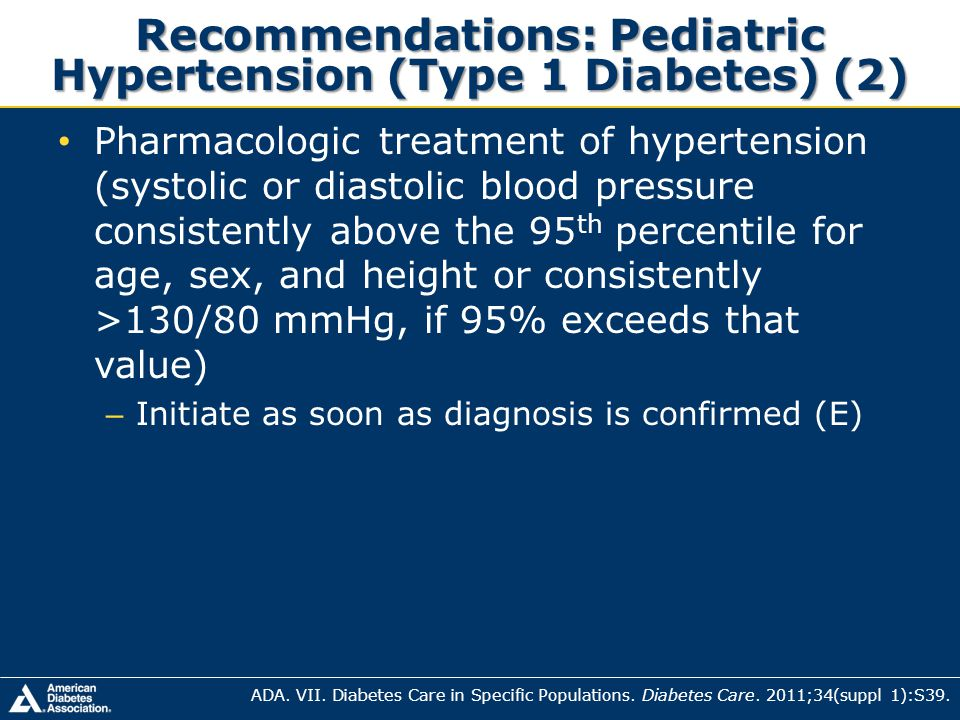 Pharmacologic treatment of hypertension (systolic or diastolic blood pressure consistently above the 95 th percentile for age, sex, and height or cons