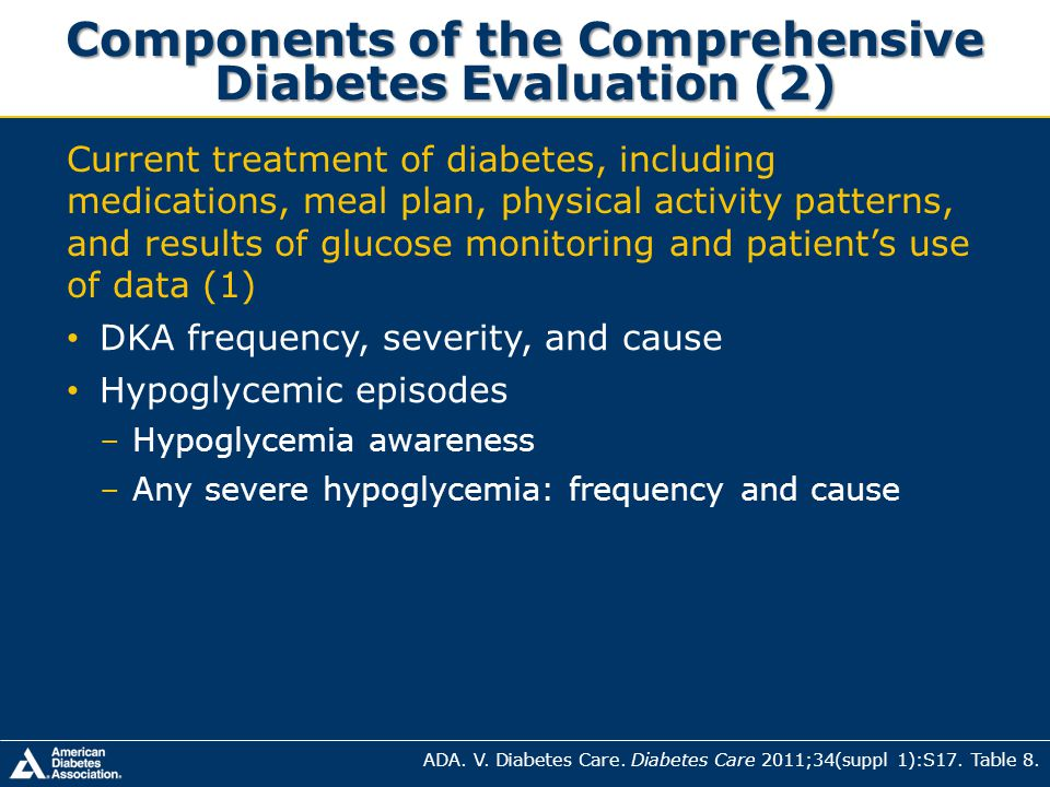 Components of the Comprehensive Diabetes Evaluation (2) ADA. V. Diabetes Care. Diabetes Care 2011;34(suppl 1):S17. Table 8. Current treatment of diabe