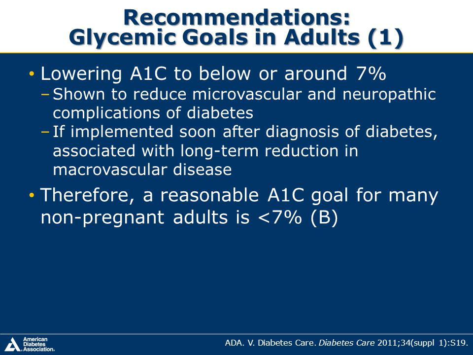 Recommendations: Glycemic Goals in Adults (1) ADA. V. Diabetes Care. Diabetes Care 2011;34(suppl 1):S19. Lowering A1C to below or around 7% –Shown to