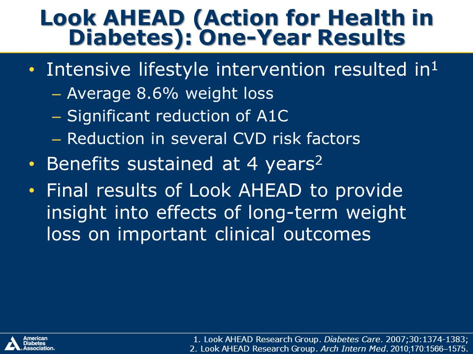 Look AHEAD (Action for Health in Diabetes): One-Year Results 1. Look AHEAD Research Group. Diabetes Care. 2007;30:1374-1383; 2. Look AHEAD Research Gr