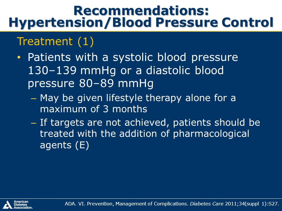 Recommendations: Hypertension/Blood Pressure Control Treatment (1) Patients with a systolic blood pressure 130–139 mmHg or a diastolic blood pressure