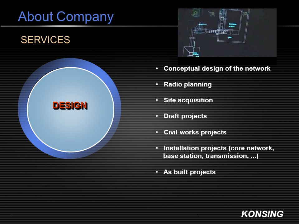 KONSING About Company DESIGNDESIGN SERVICES Conceptual design of the network Radio planning Site acquisition Draft projects Civil works projects Insta