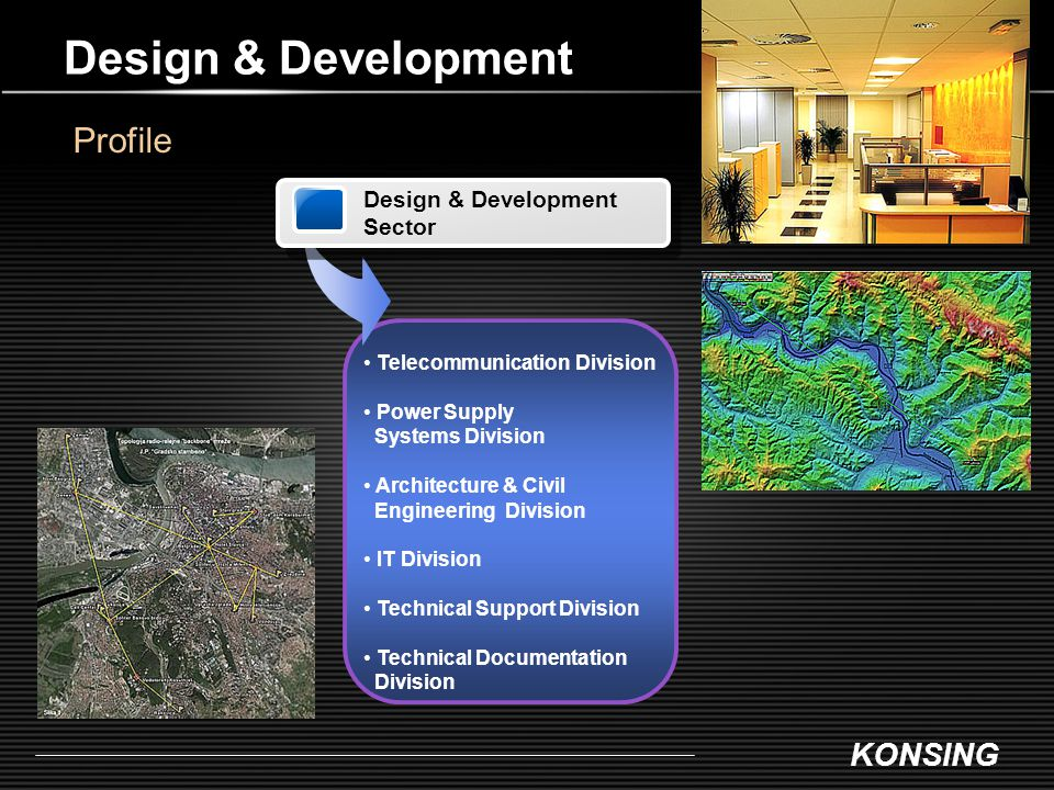 KONSING Design & Development Sector Telecommunication Division Power Supply Systems Division Architecture & Civil Engineering Division IT Division Tec