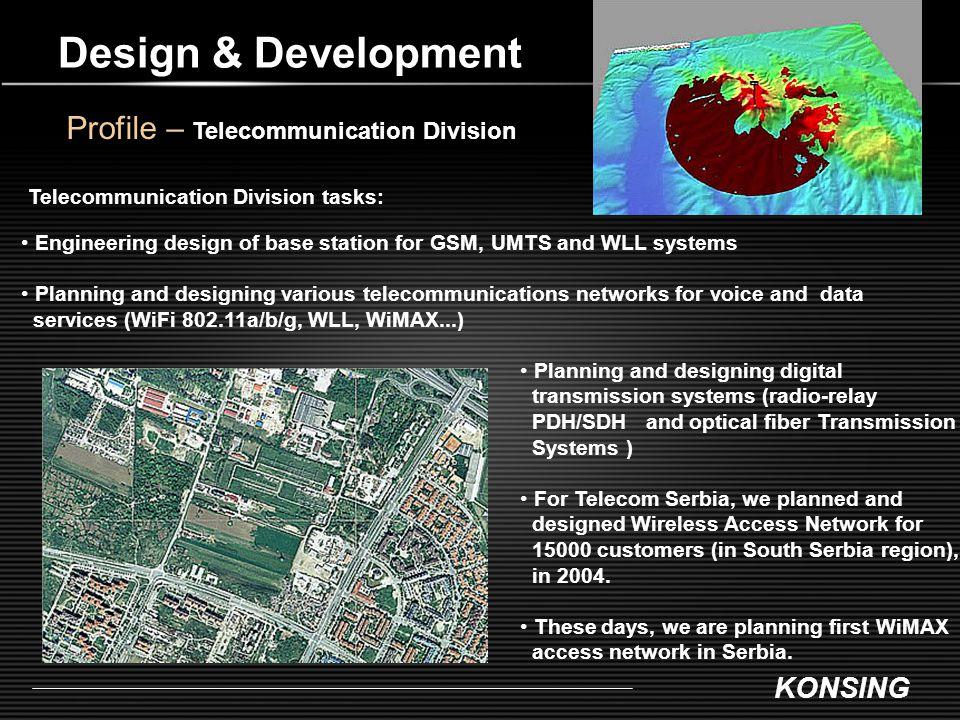 KONSING Design & Development Profile – Telecommunication Division Telecommunication Division tasks: Engineering design of base station for GSM, UMTS a