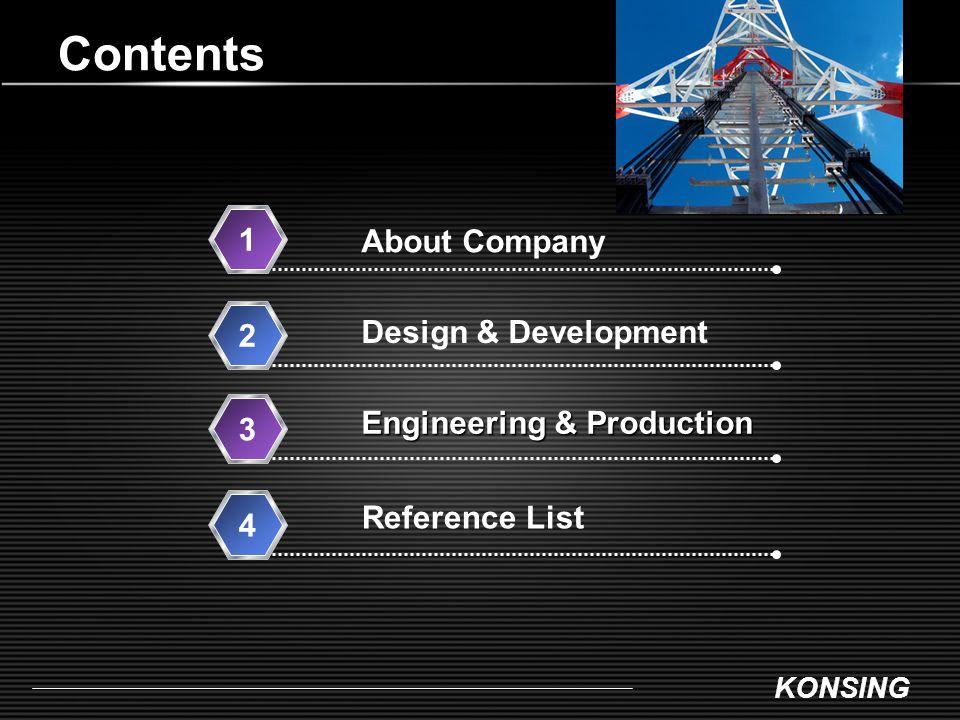 KONSING Contents Design & Development 2 Engineering & Production Engineering & Production 3 Reference List 4 About Company 1