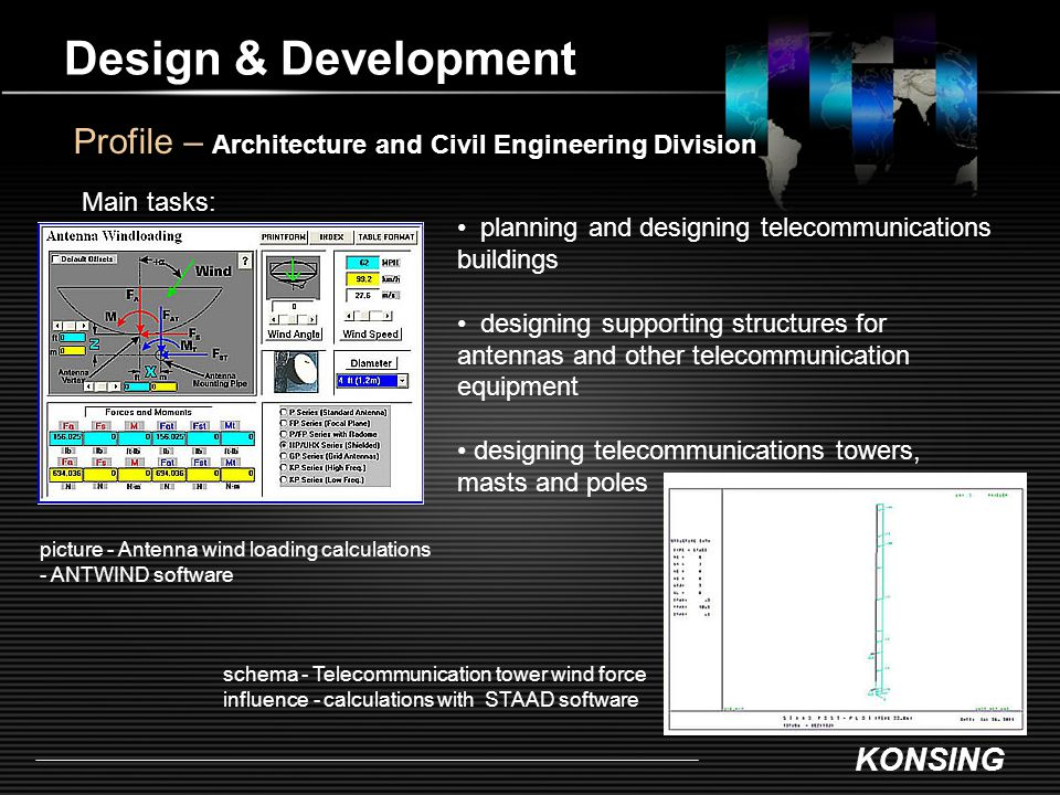 KONSING Design & Development Profile – Architecture and Civil Engineering Division Main tasks: planning and designing telecommunications buildings des