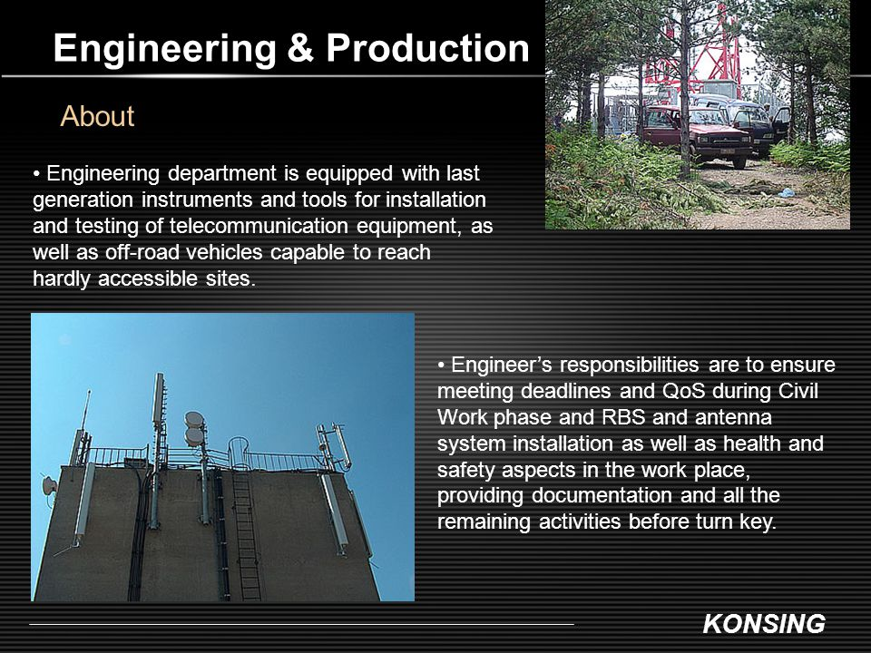 KONSING Engineering & Production About Engineers responsibilities are to ensure meeting deadlines and QoS during Civil Work phase and RBS and antenna