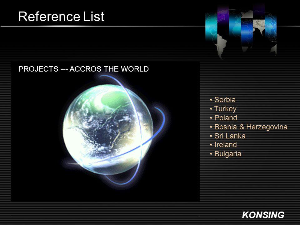 KONSING Reference List PROJECTS --- ACCROS THE WORLD Serbia Turkey Poland Bosnia & Herzegovina Sri Lanka Ireland Bulgaria