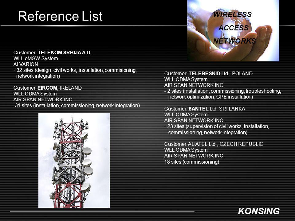 KONSING Reference List Customer: TELEKOM SRBIJA A.D. WLL eMGW System ALVARION - 32 sites (design, civil works, installation, commisioning, network int