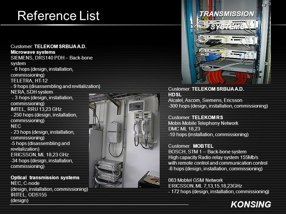 KONSING Reference List Customer: TELEKOM SRBIJA A.D. Microwave systems SIEMENS, DRS140 PDH – Back-bone system - 6 hops (design, installation, commissi