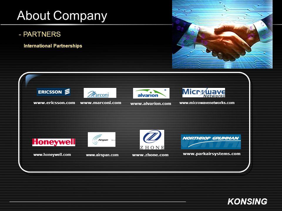 KONSING About Company - PARTNERS International Partnerships www.ericsson.comwww.marconi.com www.alvarion.com www.airspan.com www.zhone.com www.parkair