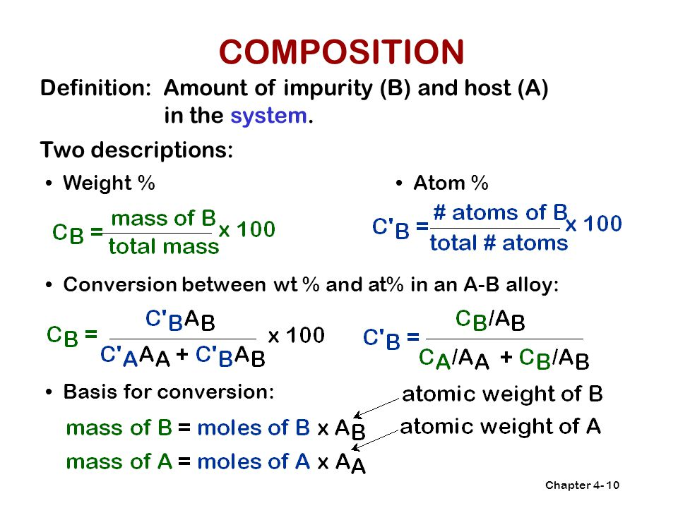 Chapter 4-10 Definition: Amount of impurity (B) and host (A) in the system.