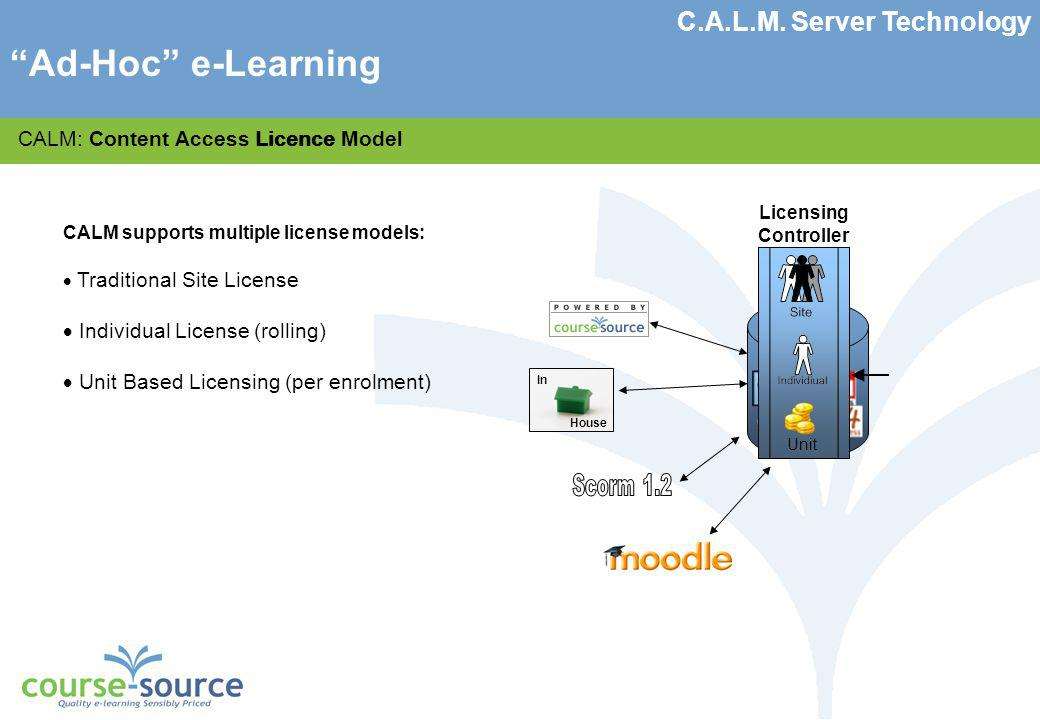Course-Source Ltd CALM: Content Access Licence Model CALM supports multiple license models: Traditional Site License Sub-set of courses chosen from library because more courses means more cost Typically priced on number of users that could have access, i.e.