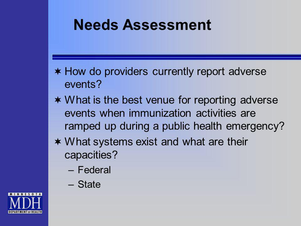 Needs Assessment How do providers currently report adverse events.