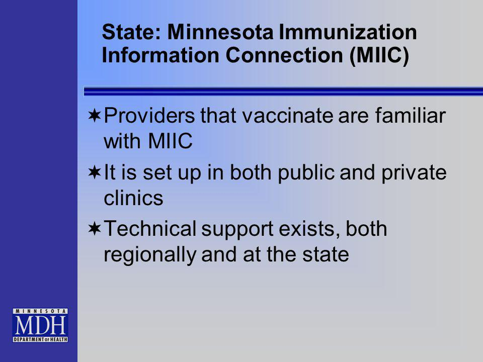 State: Minnesota Immunization Information Connection (MIIC) Providers that vaccinate are familiar with MIIC It is set up in both public and private clinics Technical support exists, both regionally and at the state