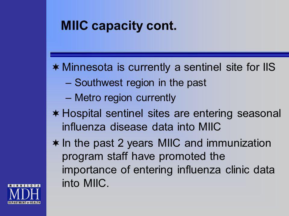 MIIC capacity cont.