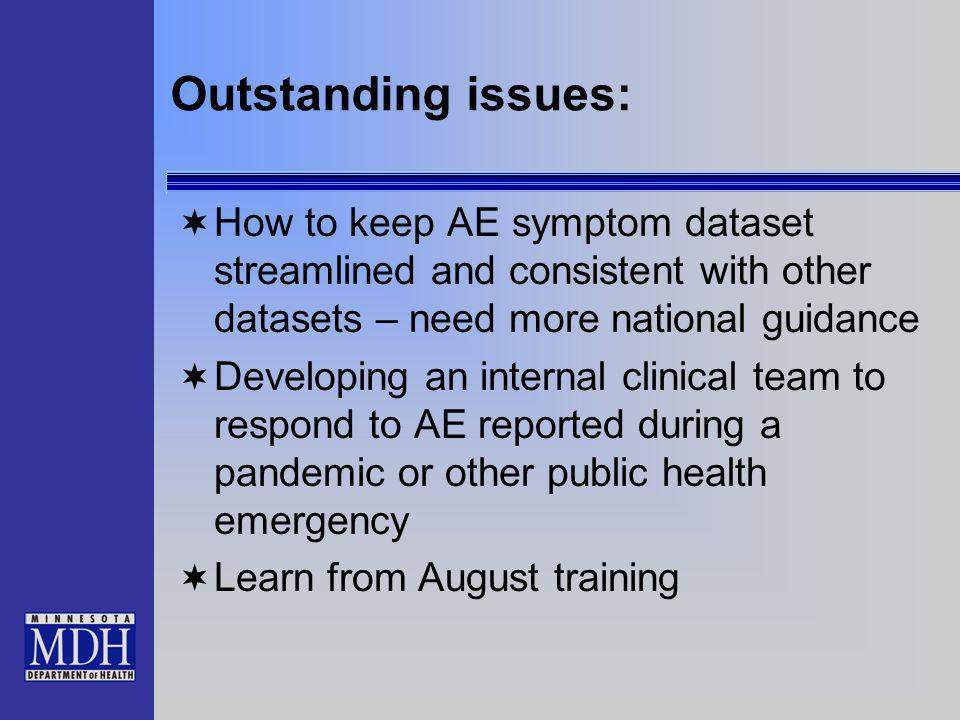 Outstanding issues: How to keep AE symptom dataset streamlined and consistent with other datasets – need more national guidance Developing an internal clinical team to respond to AE reported during a pandemic or other public health emergency Learn from August training