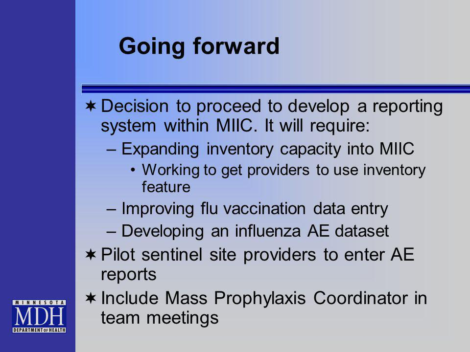 Going forward Decision to proceed to develop a reporting system within MIIC. It will require: –Expanding inventory capacity into MIIC Working to get p