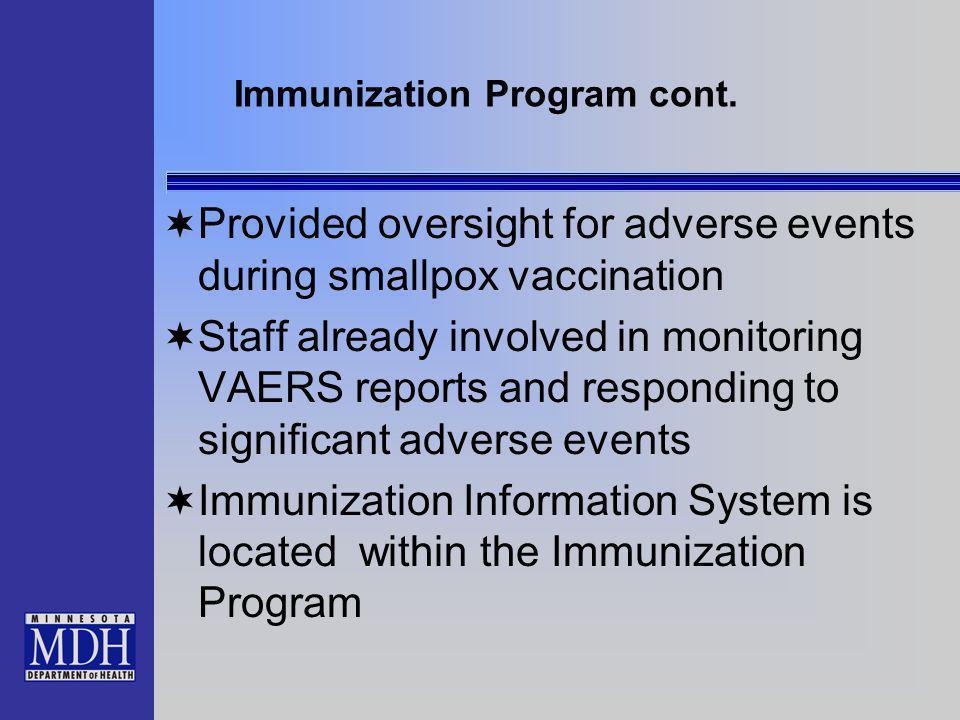 Immunization Program cont.