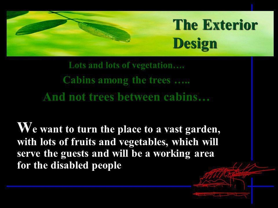 Lots and lots of vegetation…. Cabins among the trees ….. And not trees between cabins… W e want to turn the place to a vast garden, with lots of fruit
