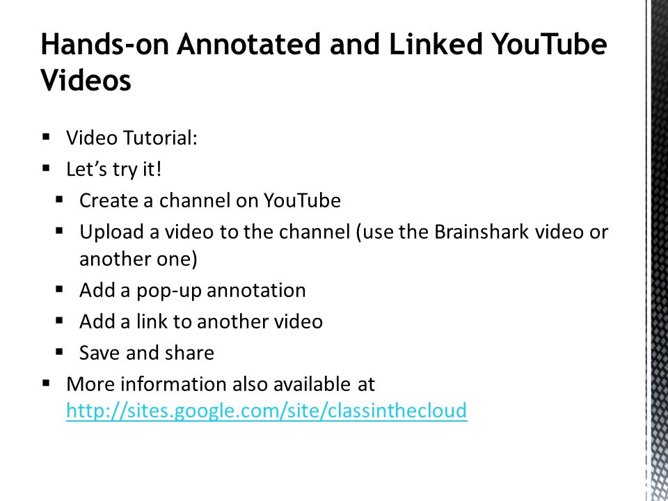Hands-on Annotated and Linked YouTube Videos Video Tutorial: Lets try it.
