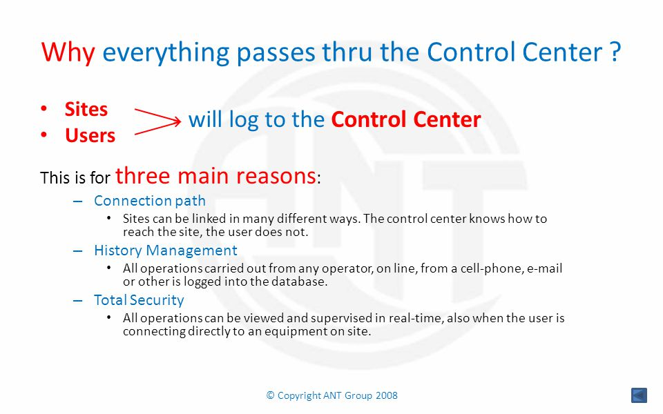 Why everything passes thru the Control Center .