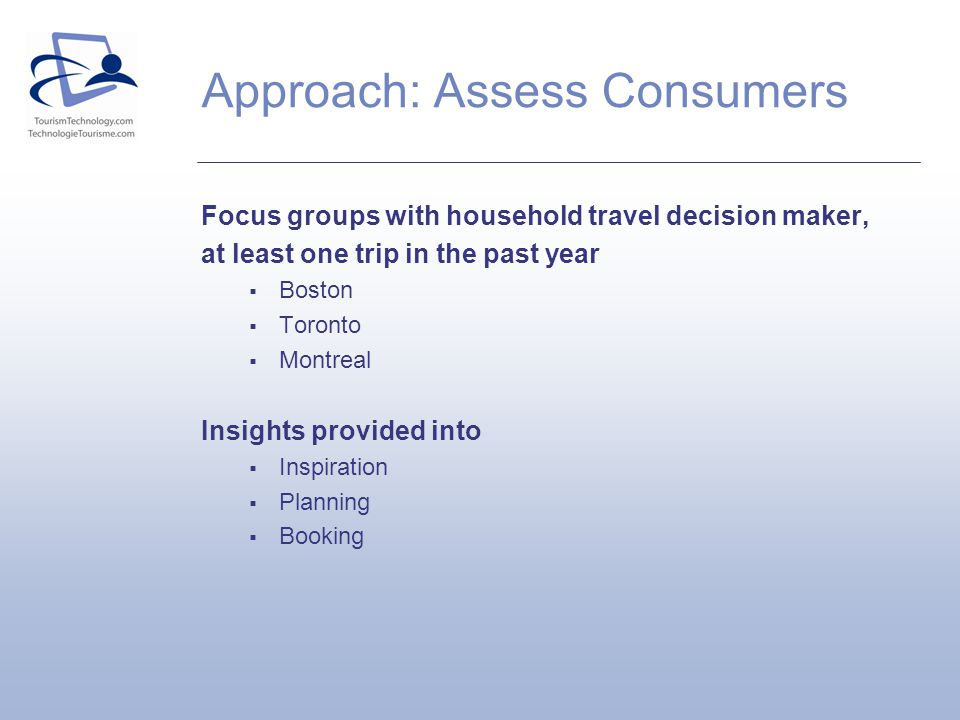 Approach: Assess Consumers Focus groups with household travel decision maker, at least one trip in the past year Boston Toronto Montreal Insights provided into Inspiration Planning Booking