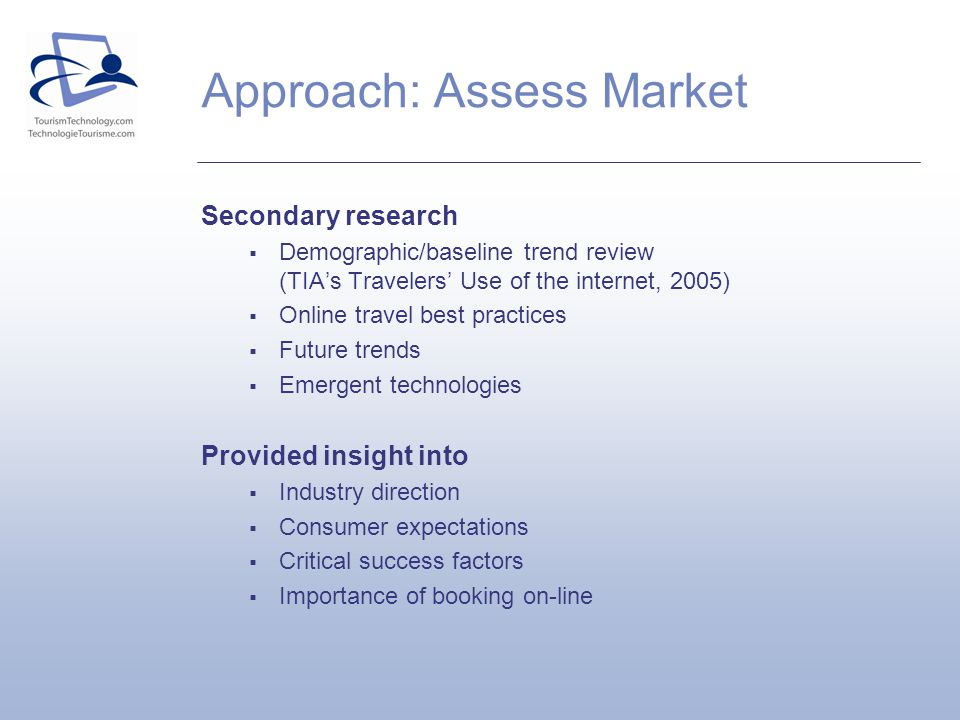 Approach: Assess Market Secondary research Demographic/baseline trend review (TIAs Travelers Use of the internet, 2005) Online travel best practices Future trends Emergent technologies Provided insight into Industry direction Consumer expectations Critical success factors Importance of booking on-line