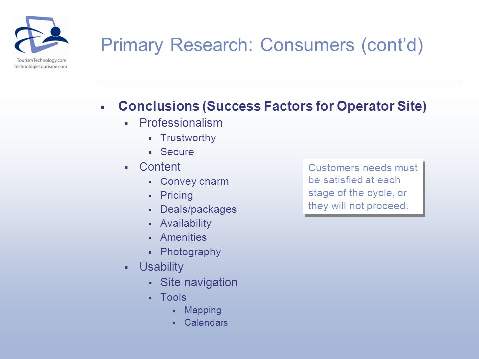 Conclusions (Success Factors for Operator Site) Professionalism Trustworthy Secure Content Convey charm Pricing Deals/packages Availability Amenities Photography Usability Site navigation Tools Mapping Calendars Primary Research: Consumers (contd) Customers needs must be satisfied at each stage of the cycle, or they will not proceed.