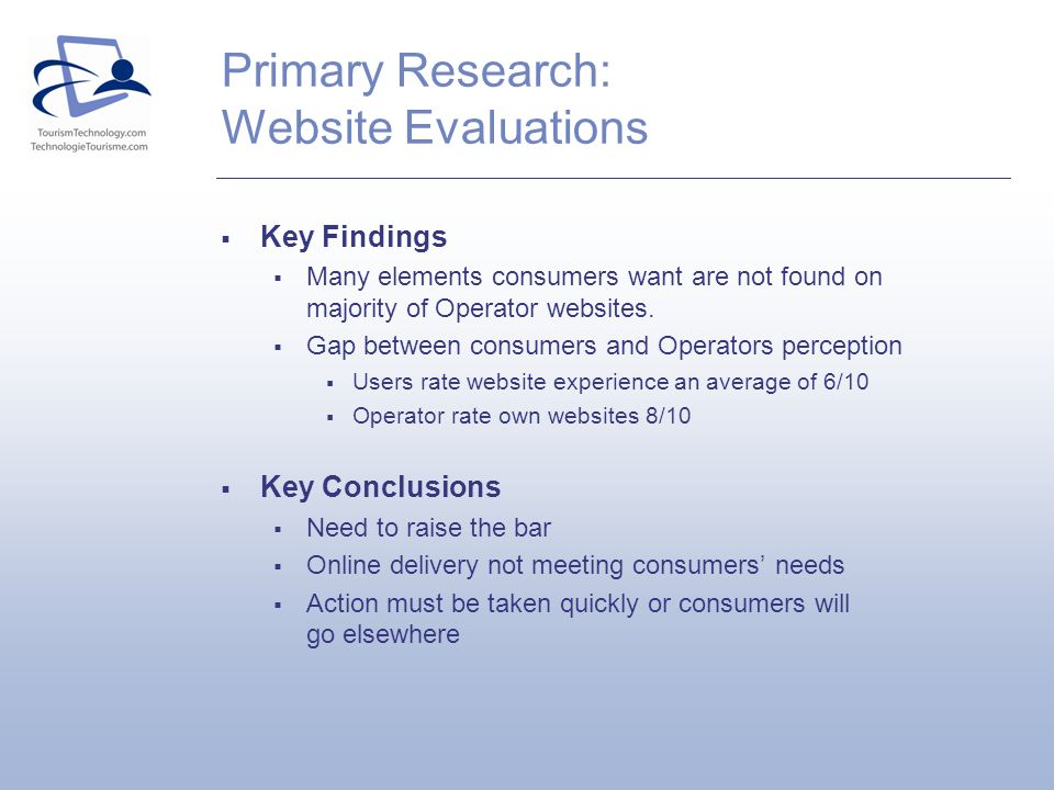 Primary Research: Website Evaluations Key Findings Many elements consumers want are not found on majority of Operator websites.