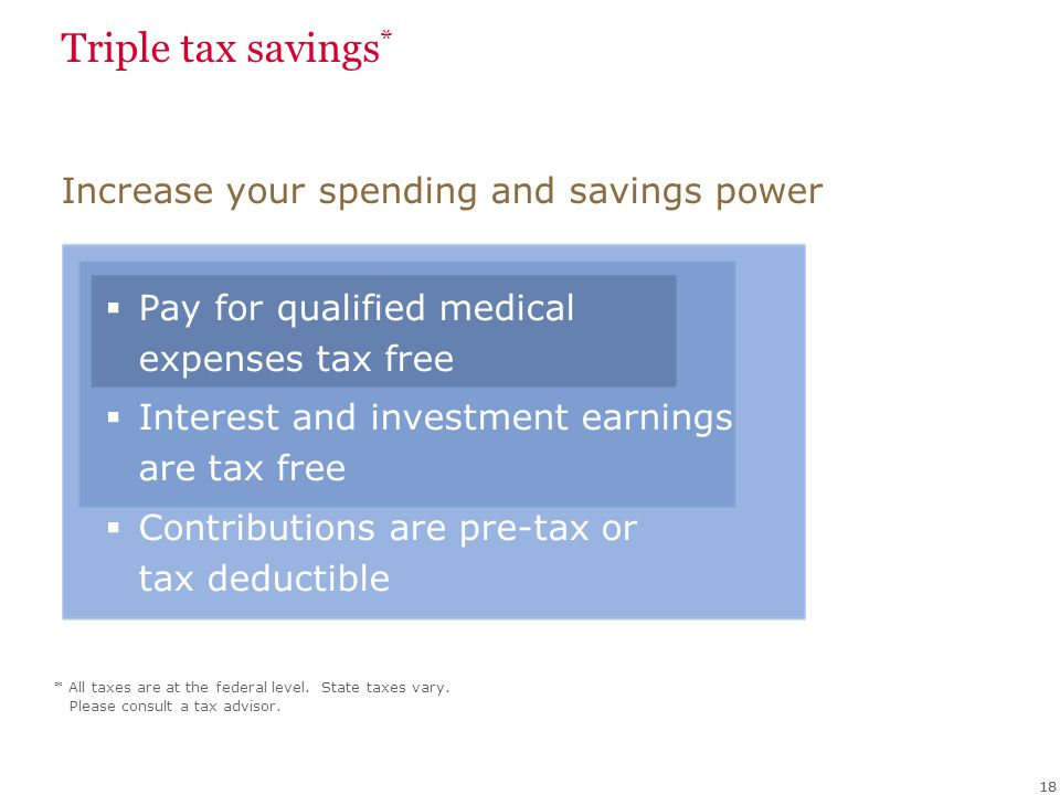 Triple tax savings * Pay for qualified medical expenses tax free Interest and investment earnings are tax free Contributions are pre-tax or tax deduct