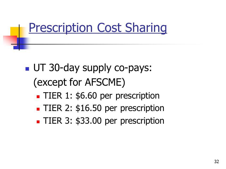 Prescription Cost Sharing UT 30-day supply co-pays: (except for AFSCME) TIER 1: $6.60 per prescription TIER 2: $16.50 per prescription TIER 3: $33.00