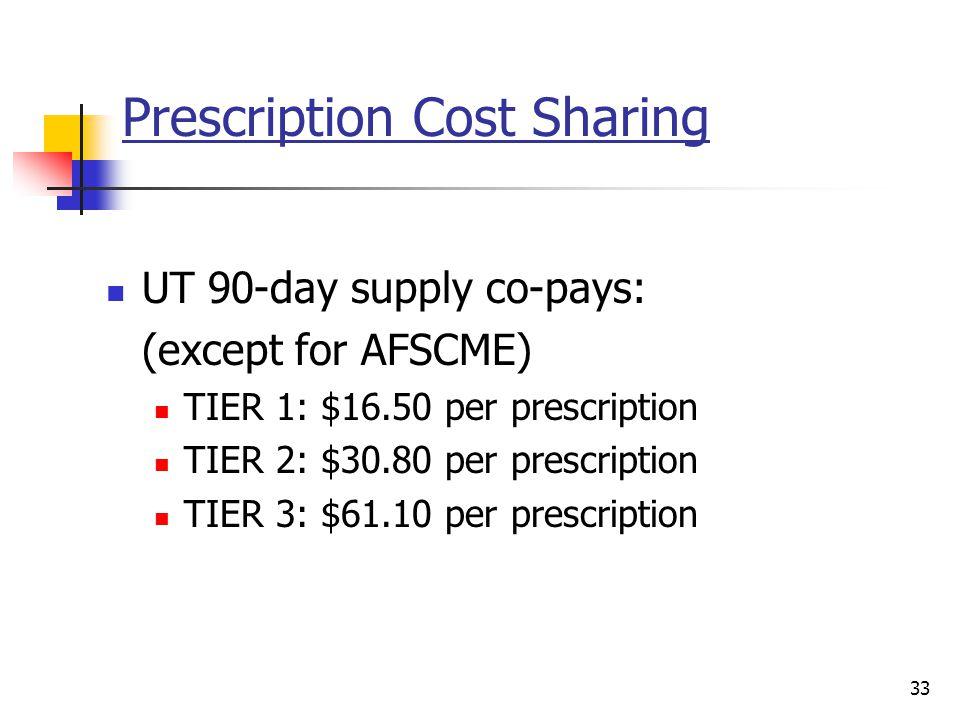 Prescription Cost Sharing UT 90-day supply co-pays: (except for AFSCME) TIER 1: $16.50 per prescription TIER 2: $30.80 per prescription TIER 3: $61.10