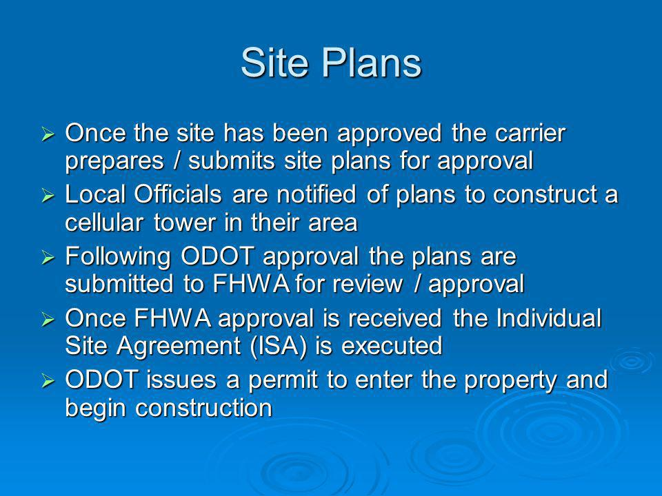 Site Plans Once the site has been approved the carrier prepares / submits site plans for approval Once the site has been approved the carrier prepares