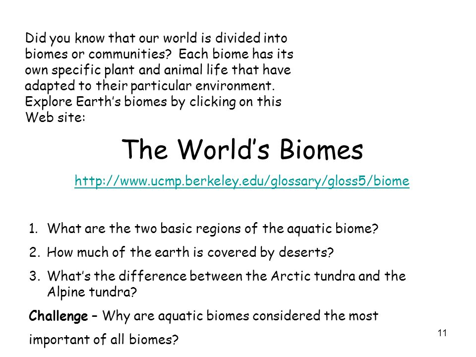 11 Did you know that our world is divided into biomes or communities? Each biome has its own specific plant and animal life that have adapted to their