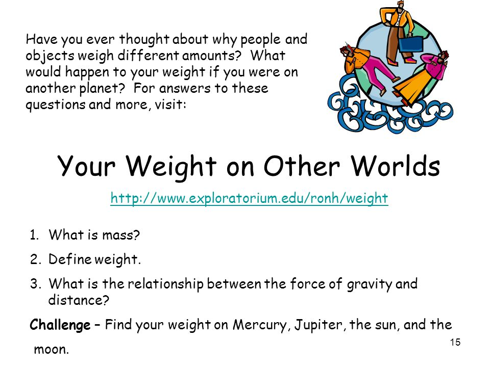 15 Have you ever thought about why people and objects weigh different amounts? What would happen to your weight if you were on another planet? For ans