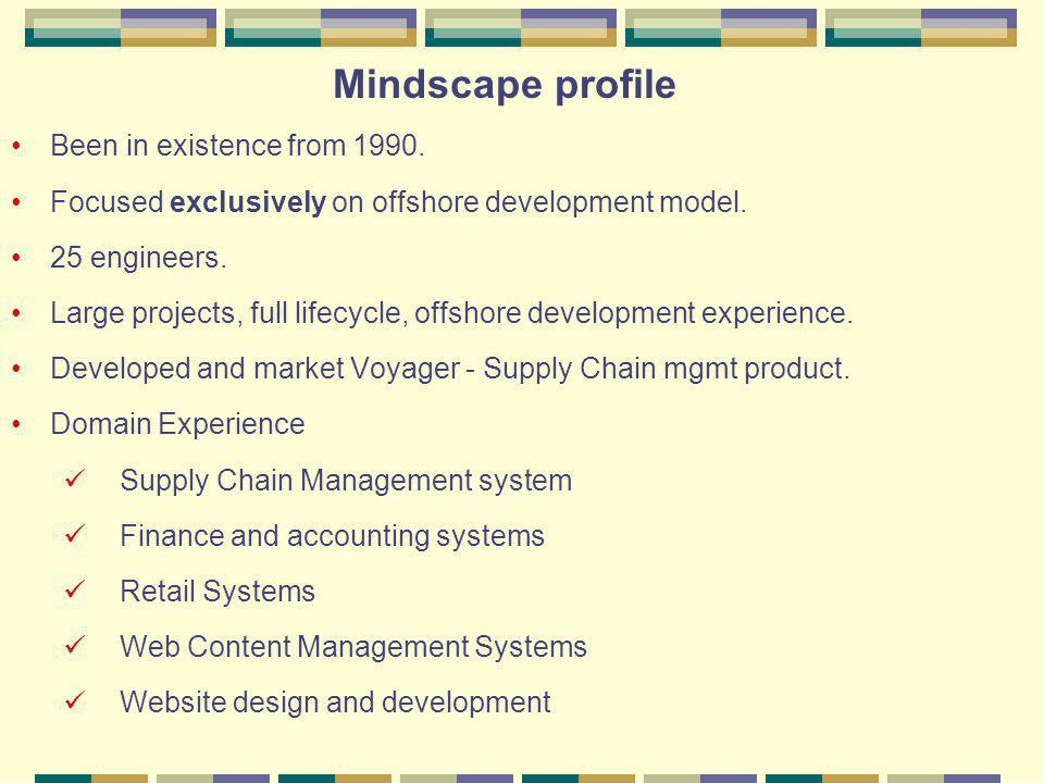 Mindscape Consulting services Requirement Analysis (Arriving at a feature list ) Web Site design (Site navigation, page look and feel etc) Graphics design and development (develop images, GIFS etc) Website development (Programming and testing) Installation (deployment at ISP server) Post installation support and maintenance (Site maintenance, upkeep, changes to pages etc)