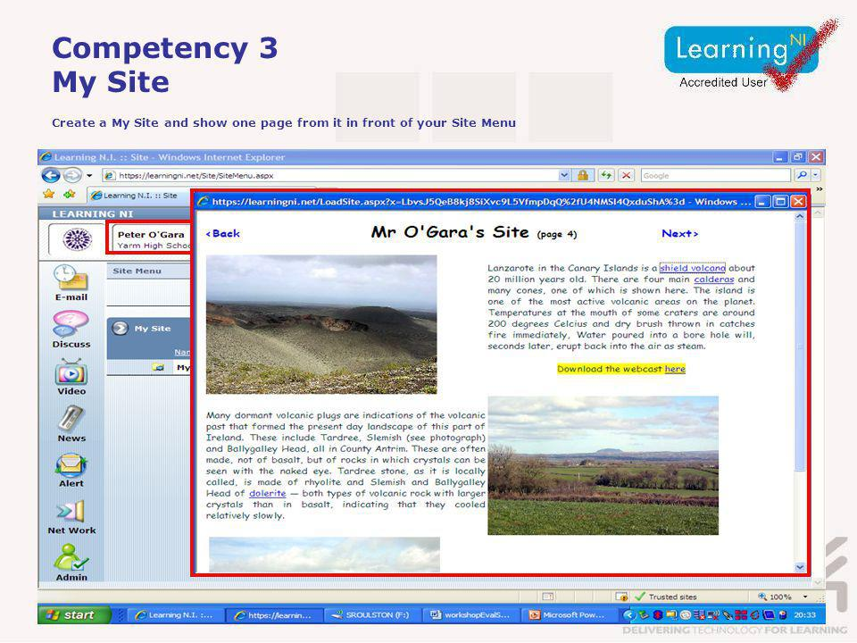 Competency 3 My Site Create a My Site and show one page from it in front of your Site Menu