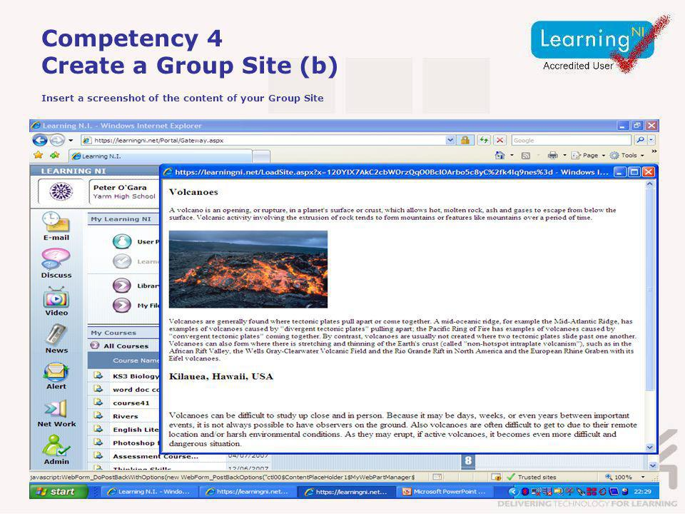 Competency 4 Create a Group Site (b) Insert a screenshot of the content of your Group Site