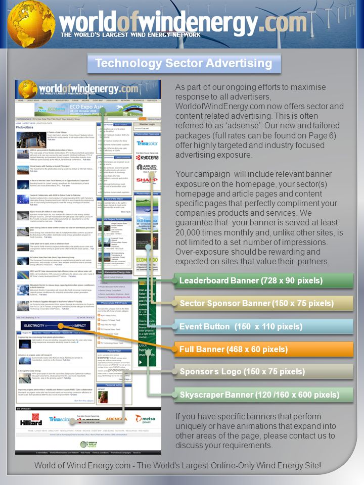 Technology Sector Advertising As part of our ongoing efforts to maximise response to all advertisers, WorldofWindEnergy.com now offers sector and content related advertising.