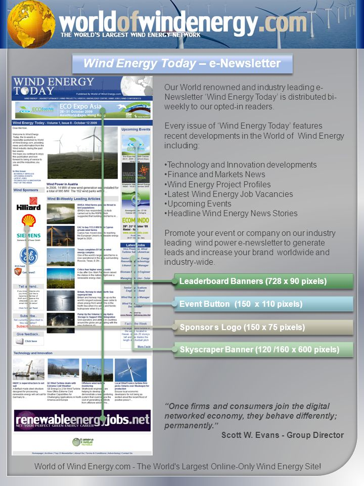 Wind Energy Today – e-Newsletter Our World renowned and industry leading e- Newsletter Wind Energy Today is distributed bi- weekly to our opted-in readers.