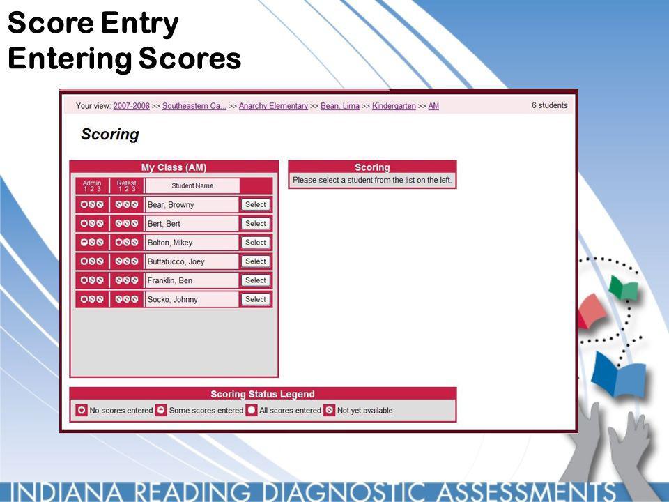 Score Entry Entering Scores