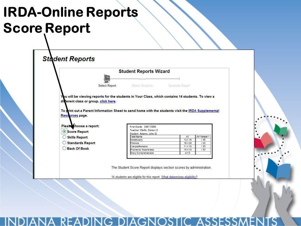 IRDA-Online Reports Score Report